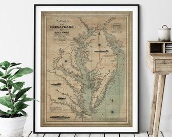 1862 Chesapeake Bay Map Print, Vintage Map Art, Antique Map, Old Map, Chesapeake Bay Print, Chesapeake Bay Wall Art, Maryland, Delaware Gift