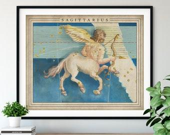 Antique Sagittarius Print - Astrology Art, Zodiac Wall Decor, Celestial Wall Art, Horoscope Gift, Astrological Sign, Constellation Poster