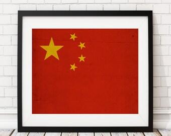 China Flag Art, China  Flag Print, Flag Poster, Country Flags, Flag Poster, Chinese Art, Pride, Chinese Gifts, Chinese Flag, Flag Painting