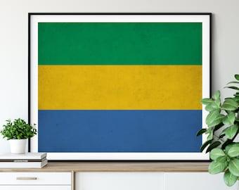 Gabon Flag Art, Gabon Flag Print, African Flags, Country Flags, Flag Painting, Gabon Painting, Gabon Print, Wall Art,Housewarming Gifts