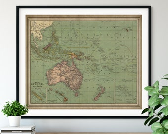1897 Oceania Map Print, Malaysia Map, Vintage Map Art, Antique Map, Australia Map, New Zealand Map, Polynesia, Micronesia, Philippines, Gift
