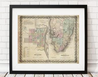 Charleston Map, Savannah Map, Vintage Map Art, Antique Map Print, Georgia, South Carolina, Map of Charleston, Old Map, Map of Savannah