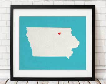 Custom Iowa State Art, Customized State Map Art, Personalized Gift, Iowa Art, Heart Map, Iowa Map, Hometown Love Map, Iowa Print, Silhouette