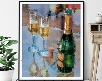 "Champagne Print - ""The Toast"" - Oil Painting Poster, Kitchen Wall Art, Alcohol Wall Decor, Wet Bar Artwork, Game Room Art, Abstract Art"