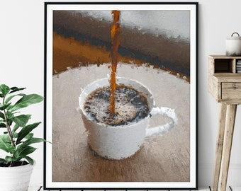 "Coffee Pour Print - ""Topped Off"" Coffee Gift, Cafe Art, Coffee Bar Decor, Oil Painting Poster, Kitchen Wall Art, Breakfast Nook Wall Decor"