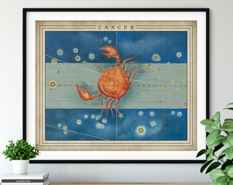 Antique Cancer Print - Astrology Art, Zodiac Wall Decor, Celestial Wall Art, Horoscope Gifts, Astrological Sign, Constellation Poster
