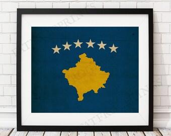 Kosovo Flag Print, Kosovo Flag Art, Kosovo Gifts, Flag Poster, Moving Gift, Vintage Flag Wall Art, Kosovo Art, Antique Flags, Industrial Art