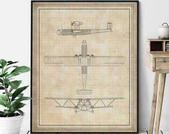Four Engine Biplane Elevation Print - Aviation Blueprint, Airplane Plan Poster, Plane Drawing, Airplane Art, Airplane Print, Aviation Gift,