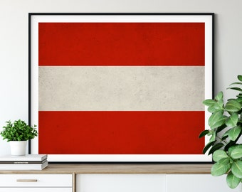 Austria Flag Art, Austria Flag Print, Flag Poster, Country Flags, Flag Painting, Austrian Poster, Wall Decor, Gifts, Austrian Flag, Wall Art