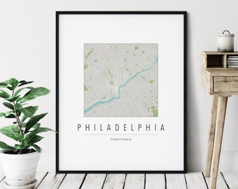 Philadelphia PA Map Print - Modern Philadelphia Art, Minimalist Philadelphia Print, Philly Gifts, Philadelphia Pennsylvania Wall Art