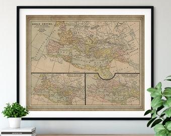 1901 Roman Empire Map Print, Vintage Map Art, Antique Map, Old Map, Ancient Rome Art, Mediterranean Sea, Living Room Art, Armenia. Serbia