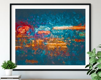 "Seafood Print - ""Shrimp Shack"" - Abstract Oil Painting Poster, Kitchen Wall Art, Chef Gift, Seafood Restaurant Wall Decor, Crab House Decor"