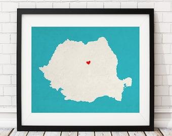 Custom Romania Silhouette Print, Customized Country Map Art, Personalized Gift, Romania Art, Romania Print, Heart Map, Romania Map, Love