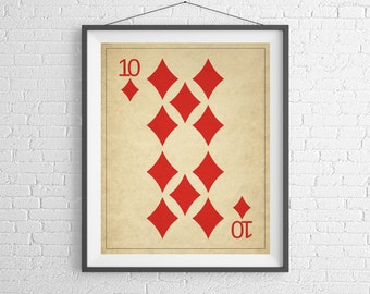 10 of Diamonds Playing Card Art, Game Room Decor, Game Room Art, Game Room Wall Art, Poker Gifts, Gambling Gift, Vintage Wall Art, Man Cave