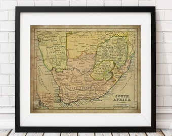 1899 South Africa Map Print, Vintage Map Art, Antique Map, Wall Decor, South African Wall Art, Africa Art, Africa Print, Cape Town