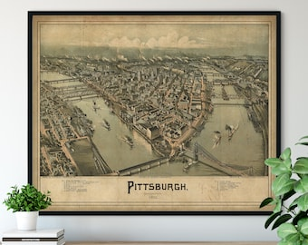 1902 Pittsburgh Pennsylvania Birds Eye View Print - Vintage Map Art, Antique Map Print, Aerial View Poster, Historical Art, PA Wall Art