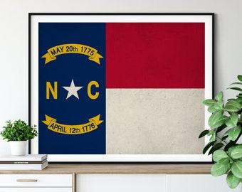North Carolina Flag Art, North Carolina Flag Print, Flag Poster, NC State Flag, NC Painting, North Carolina Gifts, North Carolina Art