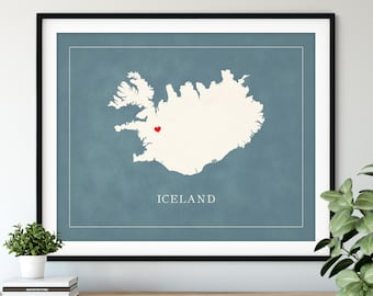 Custom Iceland Map Art - Heart Over ANY City - Customized Country Map Silhouette, Personalized Gift, Hometown Love Print, Travel Heart Map
