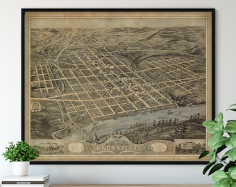 1871 Knoxville Tennessee Birds Eye View Print - Vintage Map Art, Antique Street Map Print, Aerial View Poster, Historical Art, TN Wall Art