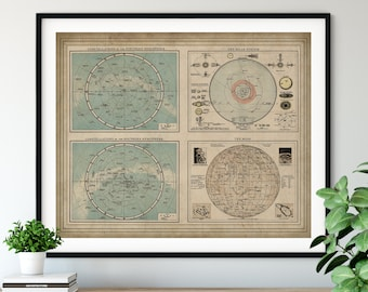 1900 Constellation Map Print, Vintage Map Art, Antique Map, Old Map, Moon Map, Moon Art, Constellation Print, Solar System Print, Astronomy