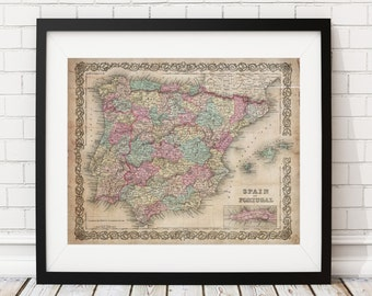 1855 Spain Map, Portugal Map, Vintage Map Art, Antique Map Print, Office Wall Art, Map of Spain, Old Map, Map Poster, Map of Portugal, Gifts