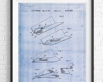 Paper Airplane Patent Print, Game Room Art, Office Wall Art, Blueprint, Vintage Patent Poster, Geek Gifts, Boys Room, Nerd Gifts, Industrial