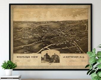 1888 Antwerp New York Birds Eye View Print - Vintage Map Art, Antique Map Print, Aerial View Poster, Historical Art, NY Wall Art, Street Map