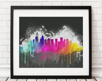 Charlotte Skyline Print, Charlotte Art, Charlotte Print, Watercolor Painting, Watercolor Skyline, Charlotte Poster, Charlotte NC Skyline