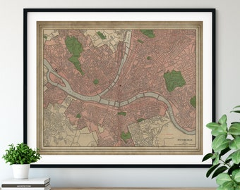 1912 Pittsburgh Pennsylvania Map, Vintage Map Art, Antique Map Print, Pittsburgh Art, Street Map, Pittsburgh Print, Pittsburgh Wall Art