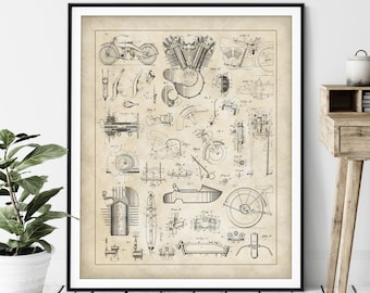 Motorcycle Collage Print - Customizable Motorcycle Blueprint, Biker Gift, Motorcycle Patent Poster, Garage Wall Decor Vintage Motorcycle Art