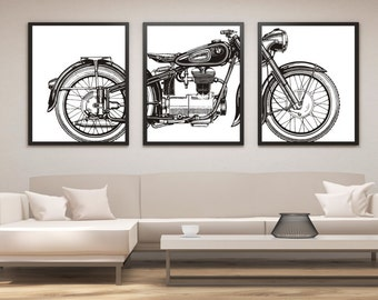 Great Motorcycle Print Set, Motorcycle Panel Art, Panel Wall Art, Motorcycle Art,  Man Cave Wall Decor, Large Wall Art, Gifts For Him, Office Art
