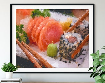 Sushi Print - Sashimi, Sushi Roll Oil Painting Poster, Kitchen Wall Art, Chef Gift, Restaurant Wall Decor, Dining Room Decor, Foodie Art