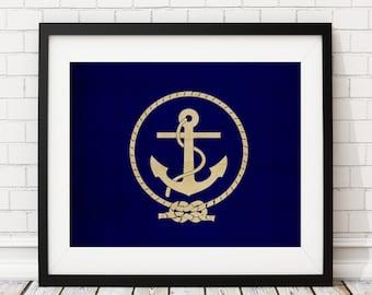 Nautical Flag Art, Anchor Flag Print, Nautical Poster, Coastal Wall Art, Nautical Painting, Nautical Print, Anchor Art, Nautical Wall Decor