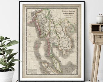 1844 Birman Empire Map Print - Vintage Map Art, Antique Map, Old Map Poster, History Buff Gift, History Teacher Wall Art, Cambodia, Sumatra