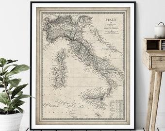 1840 Italy Map Print - Vintage Sicily Map Art, Antique Map, Old Map Poster, Sardinia Wall Art, Italian Gift, Malta, Corsica, Naples, Tuscany