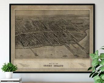 1906 Coney Island Birds Eye View Print - Vintage Map Art, Antique Street Map Print, Aerial View Poster, Historical Art, New York Wall Art