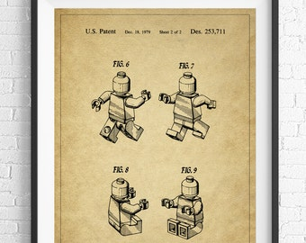 Lego Patent Print, Lego Man, Game Room Art, Toy Art, Game Room Wall Art, Blueprint, Vintage Patent Poster, Geek Gifts, Boys Room, Nerd Gifts