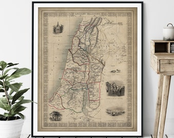 1851 Ancient Palestine Map Print, Vintage Biblical Map Art, Nazareth, Church of the Holy Sepulchre, 12 Tribes of Israel Antique Map, Old Map
