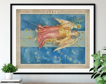 Antique Virgo Print - Astrology Art, Zodiac Wall Decor, Celestial Wall Art, Horoscope Gifts, Astrological Sign, Constellation Poster