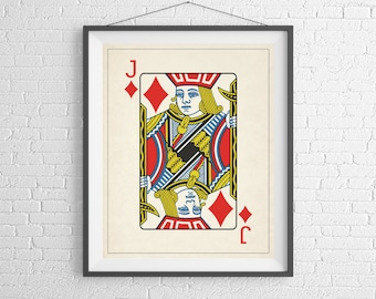 Jack of Diamonds, Playing Card Art, Game Room Decor, Game Room Art, Poker Gifts, Gambling Gift, Office Wall Art, Man Cave Art, Bar Decor