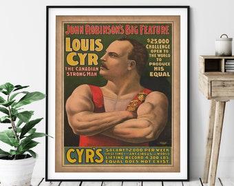 Vintage Strongman Print - Strongman Art, Antique Circus Poster, Weight Lifter Gift, Circus Art, Sideshow, Strongman Gift, Circus Print
