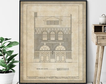 Philadelphia Fire Department Elevation Print - Historic Engine Company Blueprint, Architectural Drawing, Firefighter Gift, Building Plans