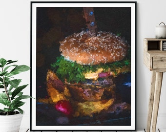 Cheeseburger Print - Oil Painting Poster, Kitchen Wall Art, Chef Gift, Abstract Food Artwork, Dining Room Wall Decor, Gifts for Him Her
