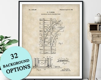 Railroad Tracks Patent Print - Customizable Train Track Blueprint Plan, Train Lover Gift, Locomotive Poster, Railway Art, Train Buff Railfan