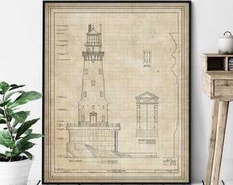 Rock of Ages Lighthouse Elevation Print - Coast Guard Lighthouse Art, Architectural Drawing, Nautical Wall Decor, Coastal Print, Isle Royale