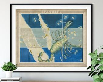 Antique Scorpio Print - Astrology Art, Zodiac Wall Decor, Celestial Wall Art, Horoscope Gifts, Astrological Sign, Constellation Poster