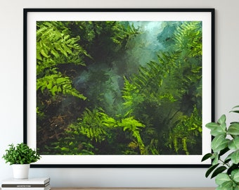 "Botanical Print - ""Jungle"" - Leaves Oil Painting Poster, Tree Wall Decor, Leaf Wall Art, Living Room Artwork, Green Plants, Forest Print"