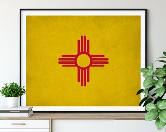 New Mexico Flag Art, New Mexico Flag Print, Flag Poster, State Flag, Flag Painting, New Mexico Art, Housewarming Gift, State Pride
