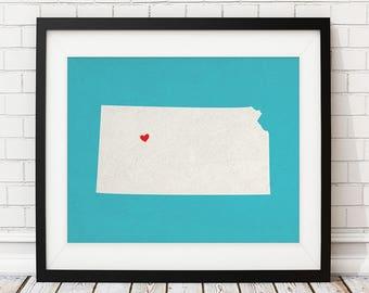 Custom Kansas State Art, Customized State Map Art, Personalized Gift, Kansas Art, Heart Map, Kansas Map, Hometown Love Map, Kansas Print