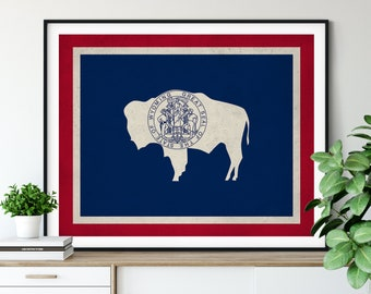 Wyoming Flag Art, Wyoming Flag Print, State Flag Poster, WY Flag Painting, Living Room Art, State Pride Gifts, Wyoming Wall Art, Hallway Art